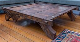 Sale 9191H - Lot 22 - Rustic Indian metal bound coffee table, W 124 x L 137 x H 35 cm