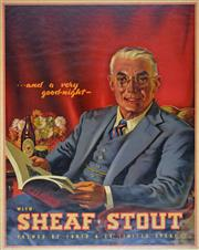 Sale 8585 - Lot 1004 - Alan D. Baker (1914 - 1987) - Tooths Sheaf Stout Advertising Poster, c1940s 100 x 76cm