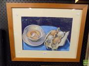 Sale 8407T - Lot 2067 - Framed Drawing Still Life with Eggs, unsigned