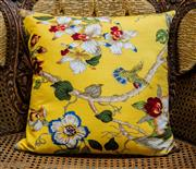 Sale 8420A - Lot 94 - A yellow floral Oriental style decorative, cushion 45 x 45cm