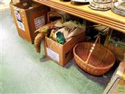 Sale 8582 - Lot 2197 - 2 Boxes of Mixed Wares incl Linen, Sewing Box etc with 2 Baskets
