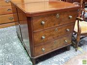 Sale 8634 - Lot 1011 - Pair of Small Neoclassical Style Continental Walnut Chest of Drawers or Oversized Bedside Cabinets, each with three drawers with bra...