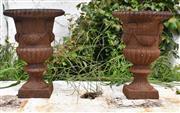 Sale 8950G - Lot 49 - Pair of Cast iron urns 31cm Height 21cm diameter
