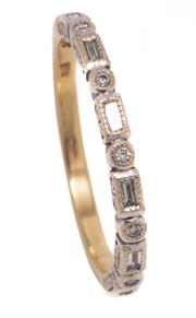 Sale 8991 - Lot 312 - A VINTAGE 18CT GOLD HALF HOOP DIAMOND RING; 1.95mm wide band set with 6 baguette and 5 round brilliant cut diamonds, size N, wt. 2.38g.