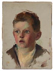 Sale 8994H - Lot 62 - Australian school - portrait of a young boy 36 x 26.5cm