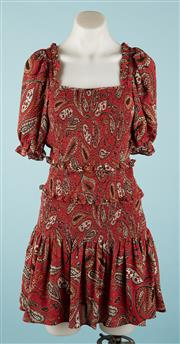 Sale 9090F - Lot 85 - A SEED HERITAGE SUMMER DRESS; in rusty paisley featuring shirred bodice and ballon style sleeves size 10