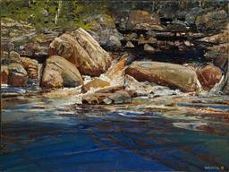 Sale 9161 - Lot 589 - GEOFF LA GERCHE (1940 - ) Tangamblo Creek, c1990 acrylic and oil on linen on canvas 182.5 x 244 cm (frame: 184 x 245 x 4 cm) signed ...