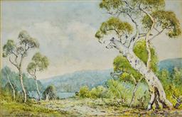 Sale 9191A - Lot 5015 - LIONEL DAVID The Blue Mountain watercolour 28 x 42 cm (frame: 51 x 65 x 3 cm) signed