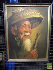 Sale 8407T - Lot 2090 - Framed Oil on Canvas Board of a Chinese Gentleman