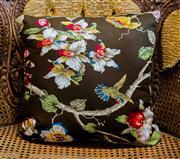 Sale 8420A - Lot 66 - A brown floral Oriental style decorative cushion, 45 x 45cm