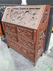 Sale 8589 - Lot 1001 - Chinese Carved Camphor & Fitted Bureau
