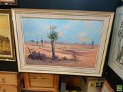 Sale 8627 - Lot 2019 - L.P. Audie, Aloe Rubrolutea, landscape oil on board , H. 60cm x W. 90cm (not incl. frame)
