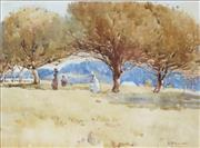 Sale 8738 - Lot 564 - Isabel McWhannell (1885 - 1918) - Figures Beneath the Trees 24 x 34cm