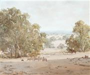 Sale 8791 - Lot 546 - Kevin Best (1932 - 2012) - Mustering in the Drought 49 x 50.5cm