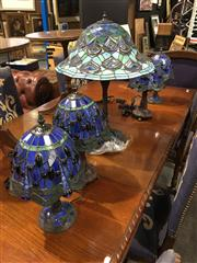 Sale 8795 - Lot 1073 - Collection Of Leadlight Table Lamps