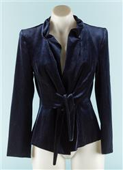 Sale 9090F - Lot 82 - A CARLA ZAMPATTI BLAZER; in midnight velvet blue with button and tie up front size 6