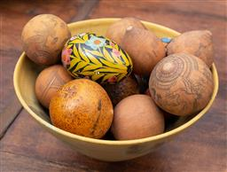 Sale 9191H - Lot 25 - Yellow ground ceramic bowl with etching seed pods, D 20 cm