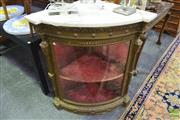 Sale 8317 - Lot 1001 - Good C19th Gilt Corner Display Cabinet, with marble top, with bowed glass panel door enclosing red velvet lined interior