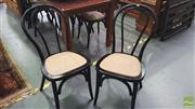 Sale 8390 - Lot 1270 - Set of 8 Black Bentwood Stacking Cafe Chairs