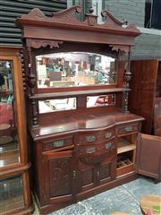 Sale 8601 - Lot 1505 - Carved Timber Mirrored Back Sideboard with Four Drawers & Doors (H: 232 W: 152 D: 49cm)