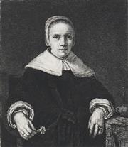 Sale 8711 - Lot 2024 - After Rembrandt Van Rijn (1606 - 1669) - Portrait of Woman 15.5 x 13.5cm (frame: 56 x 46.5cm)
