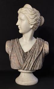 Sale 8706A - Lot 40 - A classical carved marble statue bust, general wear, marble has some cracking, H 55 x W 35cm