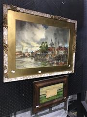 Sale 8750 - Lot 2009 - (2 works) Lillian Glover - Prized Sheep, 1989 oil on wood panel & L Van Staaten - Town Port Scene, watercolour