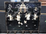 Sale 8769 - Lot 1004 - Oriental Black Lacquered Four Panel Dressing Screen