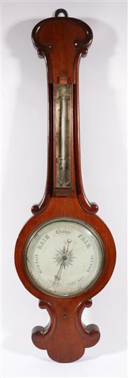 Sale 9003 - Lot 26 - A Victorian Oak Cased Barometer (thermometer broken) (L 92cm)