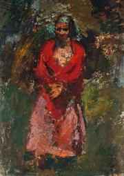 Sale 9013 - Lot 589 - Janos Pirk (1903 - 1989) - Girl in Red Coat 51 x 35 cm (frame: 83 x 66 x 2 cm)