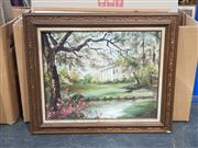 Sale 9011 - Lot 2083 - House Through the Trees, oil on canvas, signed Petrina