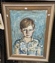 Sale 9050 - Lot 2010 - Artist Unknown, Untitled, 1971 (Green Boy), oil on canvas on board, frame: 76 x 57 cm, signed and dated lower right