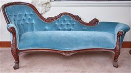 Sale 9103M - Lot 448 - A baby blue velvet upholstered chaise longue with buttoned back, Height 85cm x Width 203cm x Depth 90cm