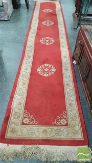 Sale 8404 - Lot 1055 - Red & Cream Oriental Runner (430 x 77cm)