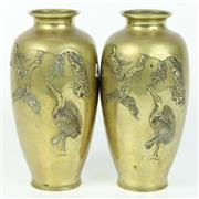 Sale 8412A - Lot 47 - Oriental Pair Of Brass Vases Decorated In Cranes & Birds height - 22cm