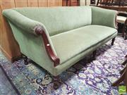Sale 8428 - Lot 1013 - Victorian Style Three Seater Lounge, fully upholstered in green velvet, with carved details to arms, raised on turned legs. Width: 2...