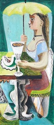 Sale 8504 - Lot 528 - Elaine Haxton (1909 - 1999) - Untitled (Alfresco) 42.5 x 19cm
