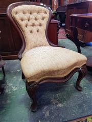 Sale 8598 - Lot 1087 - Victorian Walnut Ladys Chair, the balloon back with buttoned upholstery & cabriole legs
