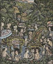 Sale 8752 - Lot 2023 - Balinese Keliki Village School - Village Life 15 x 12cm