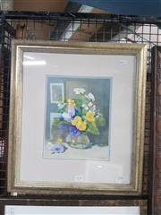 Sale 8767 - Lot 2089 - Mary Simpson - Spring Flowers, oil on canvas, frame size: 46 x 41cm, signed lower right