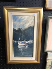 Sale 8836 - Lot 2057 - Gary Baker (1954 - ), Pittwater Moorings, oil on board, 40 x 34cm, signed lower right