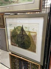 Sale 8878 - Lot 2056 - Bernhardine Miller, Waterdrops, colour etching, ed. 1/1, 73.5 x 70cm, signed lower right