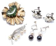 Sale 8991 - Lot 316 - FOUR ITEMS OF VINTAGE CULTURED PEARL JEWELLERY; two pairs of silver screw back earrings incl. Mikimoto Akoya pearls set as bunches o...