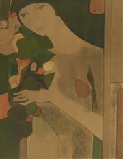 Sale 9087 - Lot 2002 - European School Woman in Green screenprint ed. EA 5/40 75 x 57cm, signed -