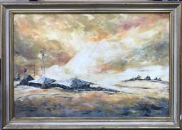 Sale 9103 - Lot 2070 - Artist Unknown Farm & Landscape, oil on board, frame: 50 x 69 cm, signed lower right -
