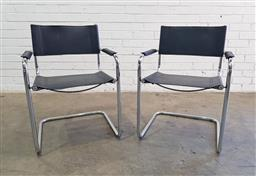 Sale 9137 - Lot 1080 - Pair of Breuer style dining chairs (h:80 x w:58 x d:50cm)