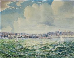 Sale 9191A - Lot 5016 - TRAVIS WEBBER (1900 - 1968) Portland watercolour 22 x 28 cm (frame: 51 x 55 x 3 cm) signed