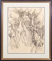 Sale 8517A - Lot 31 - Donald Friend - Stags image size 62 x 48cm