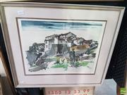 Sale 8573 - Lot 2042 - Roger Hebbelinck - Spanish Village 60.5 x 52.5cm (frame)