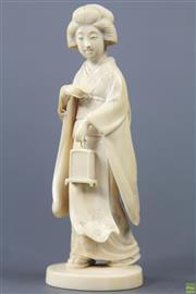 Sale 8594 - Lot 73 - Geisha Caved Ivory Figure